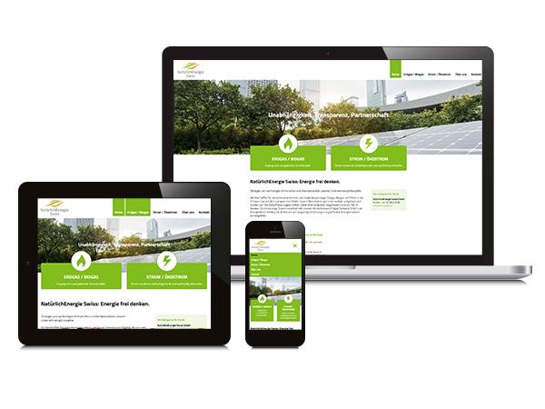 Natürlich Energie Swiss - responsive Webseite